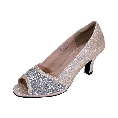 Floreale Noemi Donne Larghezze Open-toe Strass Slip-on Party Tacco Vestito Pompe (misura / Misura) Champagne
