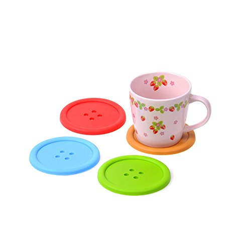 Surker 5pcs Button Coaster Colourful Silicone Cup Drinks Holder Mat Tableware Placemat Gift Ha00042(5)