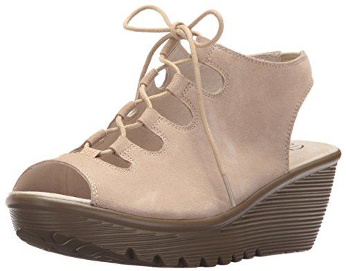 Image of Skechers Women's Parallel Peep Toe Ghillie Slingback Wedge Sandal, Natural, 7 M US