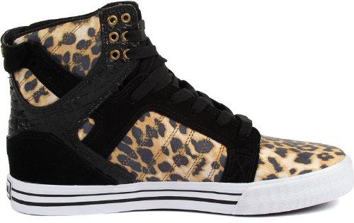 Supra Chad Muska Skytop Skatesko - Mens Cheetah Utskriftsmikrofiber / Svart Mocka, 10,0