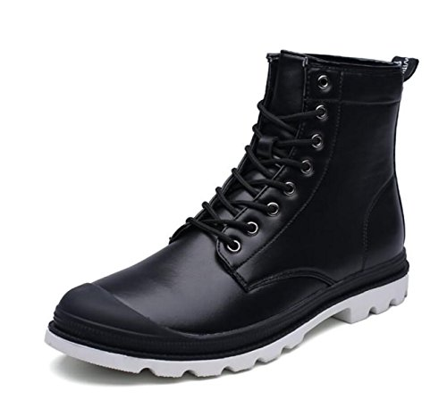 LINYI MEN Martin Boots Genuine Leather Casual High Tube Lace Hiking Military Tactical Boots Wear-Resistant Black JkkJV