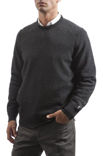Great & British Knitwear Men's HM105 100% Lambswool Crew Neck Sweater. Made in Scotland (X-Small, Charcoal)