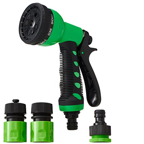 HÖCKLER Outdoor Garden Hose Nozzle Hand Sprayer, ABS Plastic - High Pressure. 9 Adjustable Watering Patterns, Perfect Thumb Control! Great for Garden, Car Wash and Showering - Nozzle Garden Plastic Hose