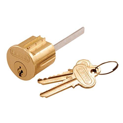 Segal Lock Key Cylinder Brushed Brass Finish - Cylinder and 2 keys (Replace Deadbolt Lock)