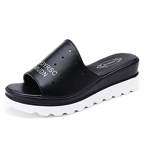 Female Black Amazing Size High uk6 With Bottom Summer color 5 White Casual Optional Pu Material Black Shoes Sandals Eu39 Flat cn40 5 5cm And x5wSHUdU