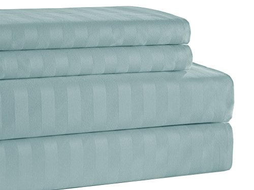 Addy Home ADDY4080 4 Piece T500 100% Egyptian Cotton Damask Stripe Set, King, Sky