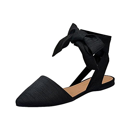 City Classified Women's Pointed Close Toe Flats w/ Wrap Around Ribbon, Black Silk Size 6.5 M US