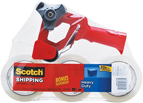 Image of Scotch Heavy Duty Shipping Packaging Tape,  1.88 Inches x 54.6 Yards, 3 Rolls of Tape with Free SB-200 Dispenser (3850-3-FPD)
