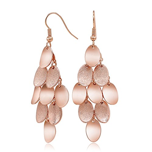 Kemstone Brushed Satin Rose Gold Plated Dangle Earrings for Women