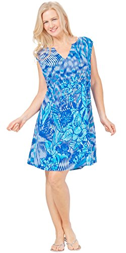 (Peppermint Bay Sleeveless Shift Beach Dress in Sultry Blue (Medium (6-8), Royal/Aqua/White))
