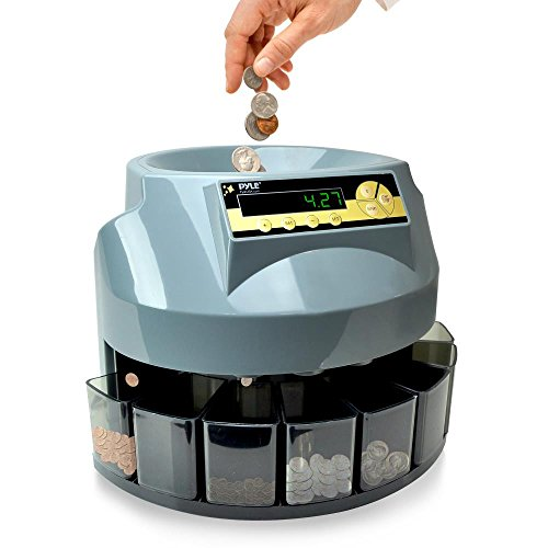 Pyle Automatic Coin Sorter, Coin Counter, LCD Display Screen, Loads Up To 500 Coins, Works with All U.S. Coin Currency, Displays Total Value, Sorts Into Into Individual Trays (PRMC620) (Sorters Automatic Coin)