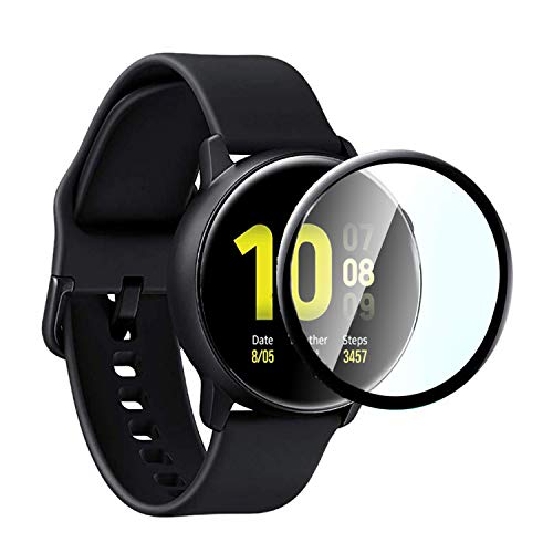 LOZA for Samsung Galaxy Watch Active 2 44mm Tempered Glass Screen Protector,Scratch Resistant with Bubble Free 9H Hardness HD Clear Full Coverage Film for Samsung Galaxy Watch Active 2 (44mm)