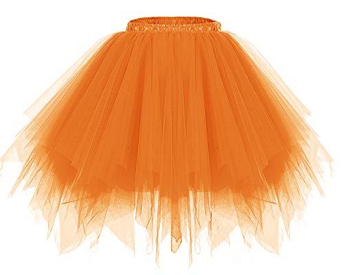Bridesmay Women's Tutus Tulle Skirt 50s Vintage Petticoat Ballet Bubble Skirts Orange S]()