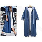 OCASHI Women's Casual Long Sleeve Denim Jeans Hooded Jacket Long Windbreaker Coat