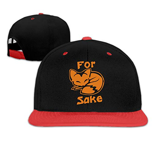 (for Fox Sake Unisex Hip-Hop Flat Brim Snapback Hats Women Men Contrast Color Baseball Cap Hats Red)