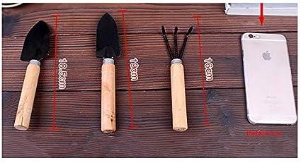 Sprie/ßen 3pcs Garden Tools Black Garden Tools Set with Shovel Rake Shovel for Succulent Plants
