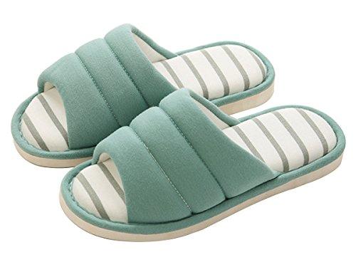 Men Green LINENLUX Winter Open Memory Foam for Slippers Shoes Casual Home Light Toe Women xTwnOPx
