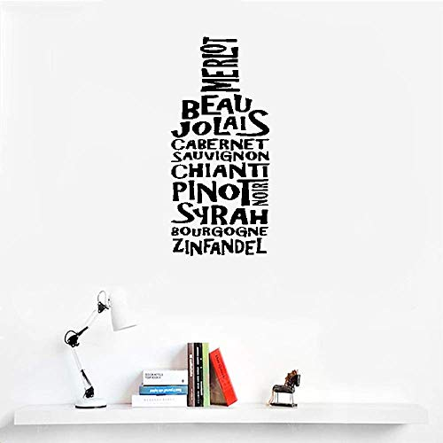 (Liuaio Wall Stickers Decor Motivational Saying Lettering Art Wine Bottle Merlot Bean for Kitchen)