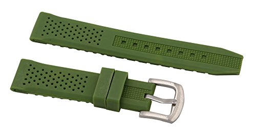 16mm Fashion Ladies' Sport Watch Silicone Bands Perforated Watch Bracelet Rubber Replacement in Green (Bands Replacement Watch Armitron)