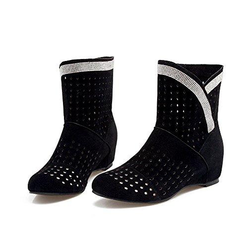 VogueZone009 Damen Mittler Absatz Gemischte Farbe Ziehen auf Blend-Materialien Rund Zehe Stiefel, Gelb, 43