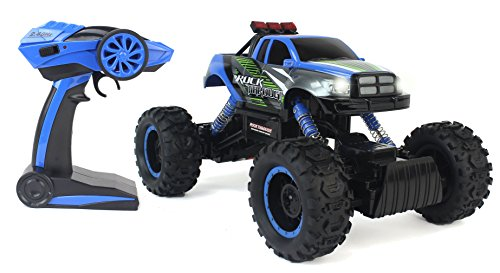 - Cross-Country Racing Rock Crawler 4WD Toy Blue Rally Truck RC Car 2.4 GHz 1:14 Scale Size w/ Working Suspension, Spring Shock Absorbers