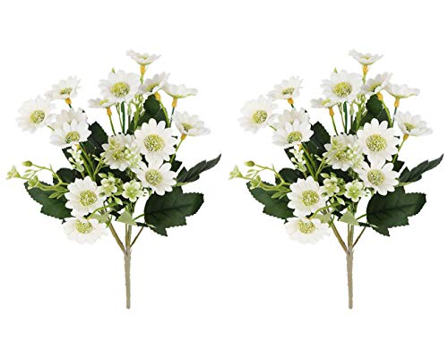 Gumolutin 2 PCS Artificial Milan Chrysanthemum Daisy Bouquet for Home Table Centerpieces Arrangements Decoration, White