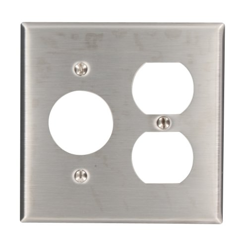 Leviton 84046-40 2-Gang 1-Duplex 1-Single 1.406-Inch Diameter, Device Combination Wallplate, Device Mount, Stainless Steel