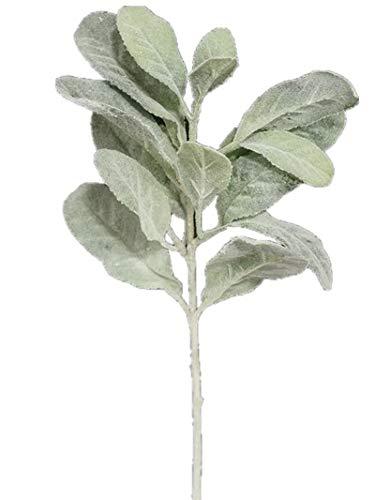Sweet Home Deco Artificial Leaf Bush Small Size Bush DIY Craft Greenery Set of 3 (Flocked Lambs Ear)
