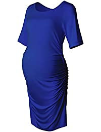 Maternity Bodycon Dress Sleeves Ruched Sides Knee Length Shirred Dress