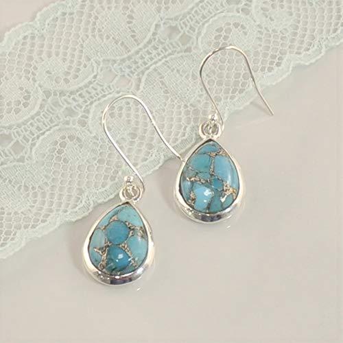 Sivalya 3.00 Ctw Pear Cut Blue Turquoise Earrings in 925 Sterling Silver - Genuine Teardrop Shape Gemstone Solid Silver French Hook Dangle Earrings ()