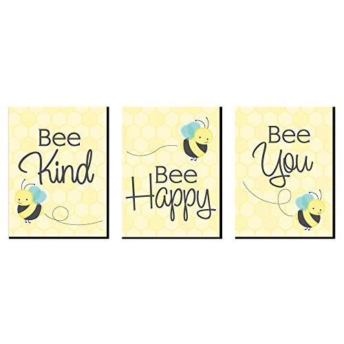 Honey Bee - Nursery Wall Art and Kids Room Decorations - 7.5 x 10 inches - Set of 3 Prints