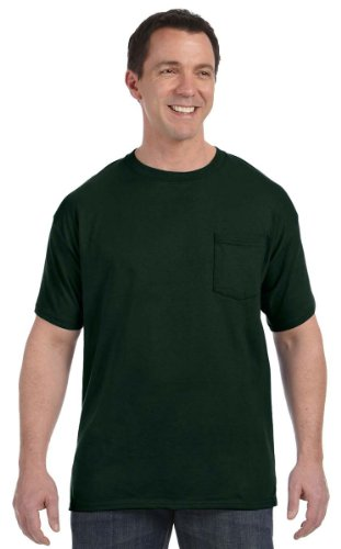 Hanes 5590 Unisex Tagless 100% Cotton T-Shirt with Pocket Deep Forest X-Large