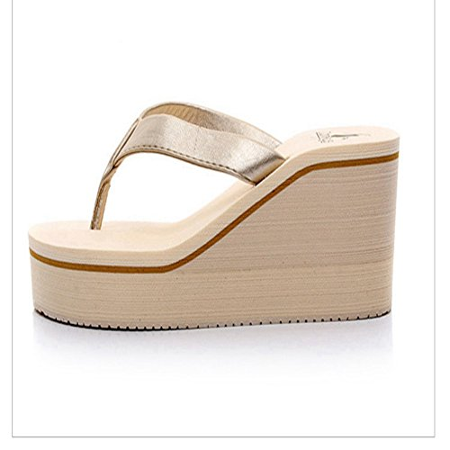 Fashion Colourful Anti High Slip Beach Wedge Womens Flops JULY Ladies Dressy Platform Summer Sandals golden on Flip Heel T Slip q68Bt1