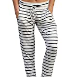 quicksilver trolley - Women Cotton High Waist Stripe Fashion Casual Pants Muranba (White, L)
