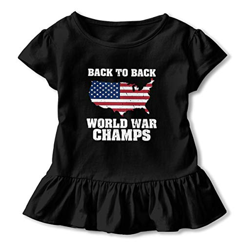 Back to Back World War Champs 2-6 Years Old Child Girls Kawaii Short Sleeve T Shirt Printed Dress Black