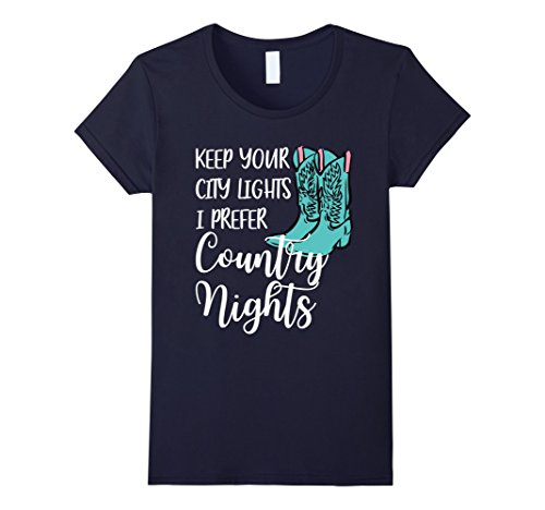 Womens Cowgirl T Shirt - City Lights Country Nights Country T Shirt Small Navy (Womens City T-shirt Light)