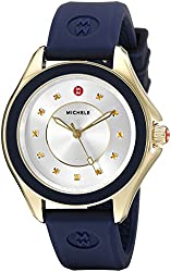 MICHELE Women's MWW27A000013 Cape Gold-Tone Stainless Steel Watch with Navy Blue Band