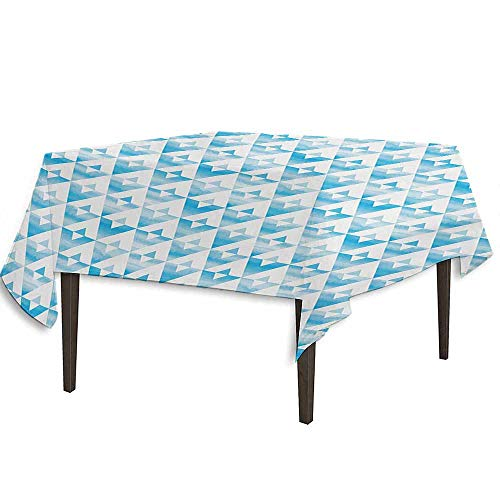 kangkaishi Modern Washable Tablecloth Geometric Contemporary Shapes Triangle Line with Clear Cloud Backdrop Image Desktop Protection pad W36.2 x L36.2 Inch Pale and Baby Blue ()
