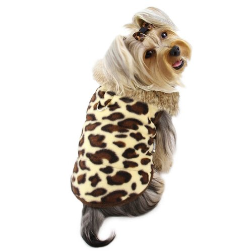 Adorable Padded Leopard Print Dog Vest with Fur Collar Size: X-Large Leopard Print Dog Coat