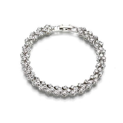 Baynne Fashion Sterling Silver Diamond Heart Shape Women's Chic Bracelet -