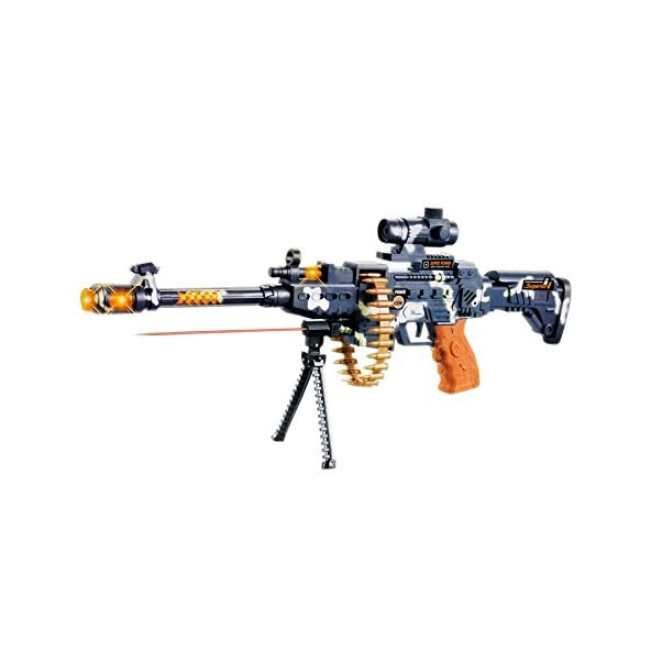 Toyshine 25″ Musical Army Style Toy Gun for Kids with Music, Lights and Laser Light