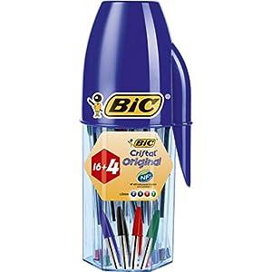 BIC Cristal Original Pennea Sfera Punta Media (1.0 mm), Colori Assortiti, Barattolo da 16 + 4, Confezione Regalo 1 spesavip