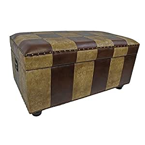 Faux Leather Rectangular Pattern Storage Trunk