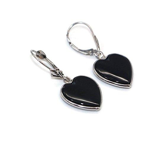 Onyx Black Heart Earrings set in 14K White Gold,Leverbacks by Sophia Fine Jewelry (Image #3)