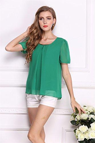 Corea Mujeres Del Estilo Del Verano De La Gasa Del Color Solido De Manga Corta Camisetas Delgadas Tops Verde