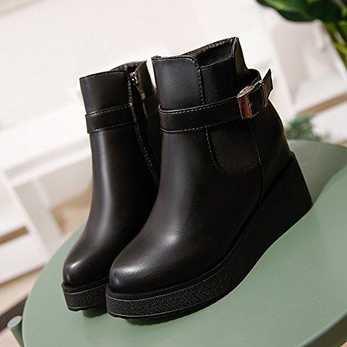 HSXZ Zapatos de mujer invierno botas de piel sintética forro pelusas enredaderas peep toe botines/Botines hebilla negra casual Black