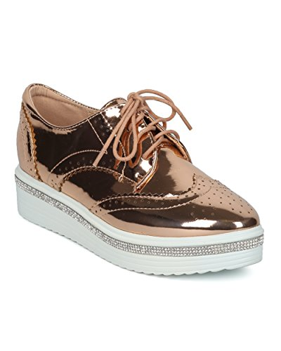 Spectator Collection - Alrisco Women Platform Spectator Loafer - Rhinestone rimmed Spectator - Trendy Androgynous Casual Dressy Tuxedo Shoe - HE05 by Liliana Collection - Rose Gold Metallic (Size: 6.0)