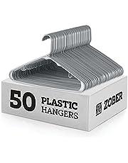 ZOBER Everyday Standard Plastic Hangers - Pack of 60 Strap Hooks 16.7 inch, Durable & Slim Space Saving Tubular Clothes Hangers Pants, Shirt, Dress, Underwear, Bra Etc. Hangs up to 5.5 lbs