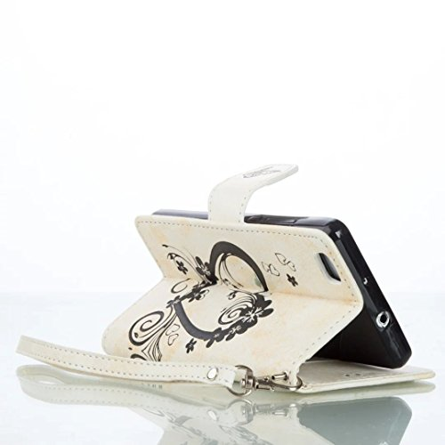 Vandot 2en1 Accesorios Set cubierta tirón del cuero caja del teléfono para Huawei P8 Lite 1x 3D del brillo de Bling Rhinestone bolso de concha de perla diamante Corazon te amo Case - Flor Rose libro s AXYH 02