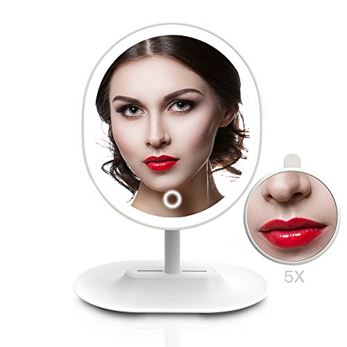 MiroPure Lighted Makeup Mirror, Oval-Shaped Vanity Mirror with 5x Magnifying Spot Travel Mirror Detachable, 16 LED Lights Dimmable, Built-in 1000mah Lithium Battery USB - Head Shape Oval